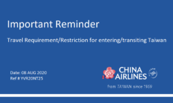 Important Reminder : Travel Requirement / Restriction for entering / transiting Taiwan (China Airline)