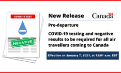 Pre-departure COVID-19 testing and negative results to be required for all air travellers coming to Canada