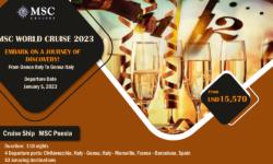 2023 – MSC – 119 Day WORLD CRUISE