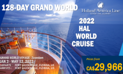 2022 WORLD CRUISE – HAL- 128-DAY GRAND WORLD